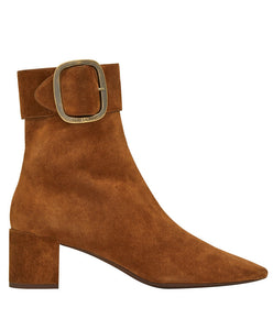Saint Laurent Joplin Buckle Bootie In Suede Coffee