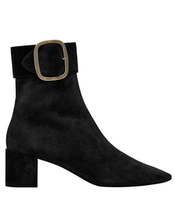 Saint Laurent Joplin Buckle Bootie In Suede Black