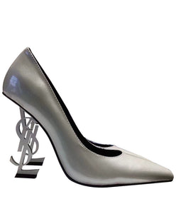 Saint Laurent Opyum Leather Pumps Silver