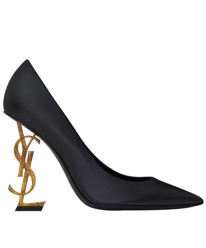 Saint Laurent Opyum Pump In Patent Leather With Silver Tone Heel Black