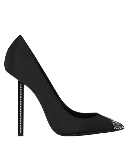 YSL Women's Silk High Heels Black