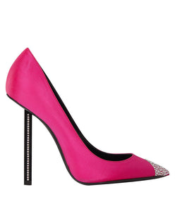 YSL Women's Silk High Heels Pink