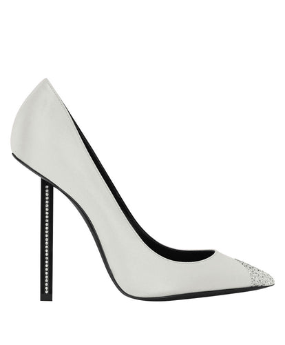 YSL Women's Silk High Heels White