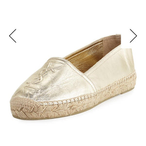 Saint Laurent Glod Metallic Leather Espadrilles
