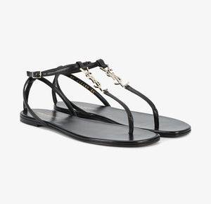 Saint Laurent Black Nu Pieds T-strap Sandals