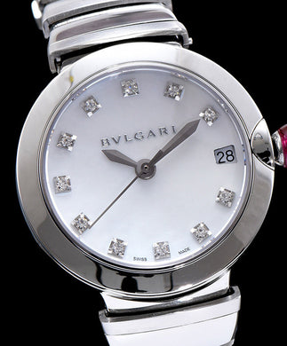 Bvlgari Lvcea 18ct Pink-Silver Stainless Steel And Diamond Watch White