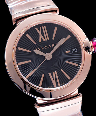 Bvlgari golden stainless steel and diamond watch Black