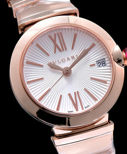 Bvlgari golden stainless steel and diamond watch White