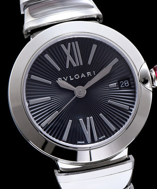 Bvlgari Silver stainless steel and diamond watch Black