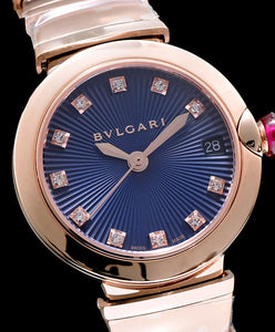 Bulgari Golden Stainless Steel And Diamond Watch Blue