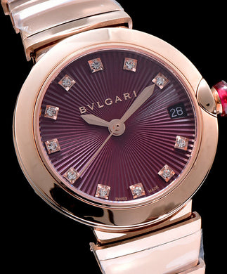 Bulgari Golden Stainless Steel And Diamond Watch Purple