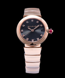 Bulgari Golden Stainless Steel And Diamond Watch Black