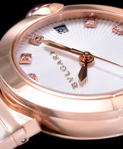 Bulgari Golden Stainless Steel And Diamond Watch White