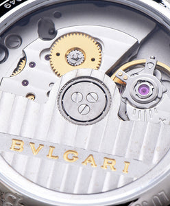 Bvlgari Stainless Steel And Diamond Watch Blue