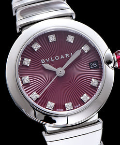 Bvlgari Stainless Steel And Diamond Watch Purple