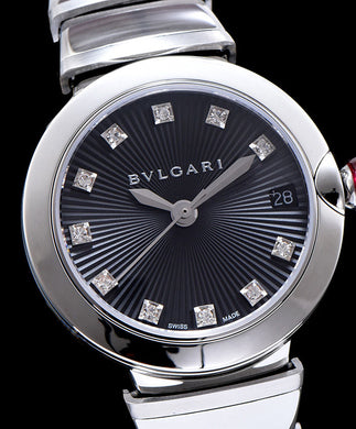 Bvlgari Stainless Steel And Diamond Watch Black