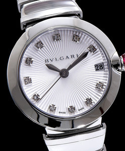 Bvlgari Stainless Steel And Diamond Watch White
