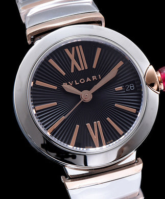 Bvlgari Silver-Gold stainless steel and diamond watch Black