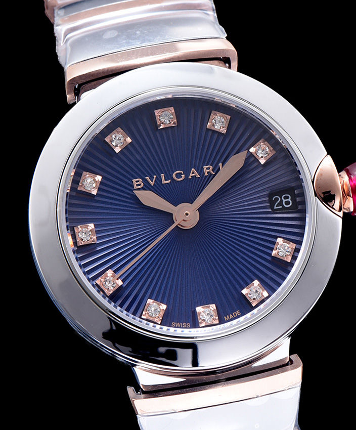 Bvlgari Lvcea 18ct Pink-Gold Stainless Steel And Diamond Watch Blue