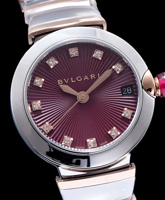 Bvlgari Lvcea 18ct Pink-Gold Stainless Steel And Diamond Watch Purple