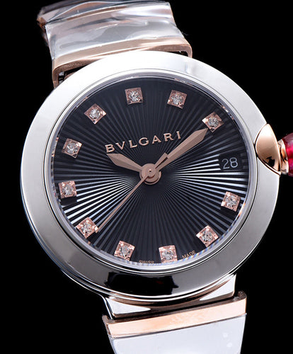 Bvlgari Lvcea 18ct Pink-Gold Stainless Steel And Diamond Watch Black
