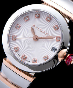 Bvlgari Lvcea 18ct Pink-Gold Stainless Steel And Diamond Watch White