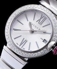 Bvlgari Lvcea Sliver tone Case With Diamonds Automatic Watch White