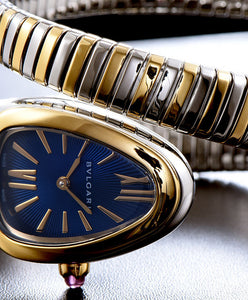 Bvlgari Serpenti 18ct Pink-Gold And Stainless Steel Watch Blue