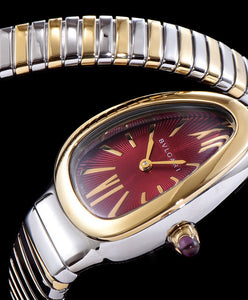 Bvlgari Serpenti 18ct Pink-Gold And Stainless Steel Watch Red