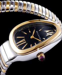Bvlgari Serpenti 18ct Pink-Gold And Stainless Steel Watch Black