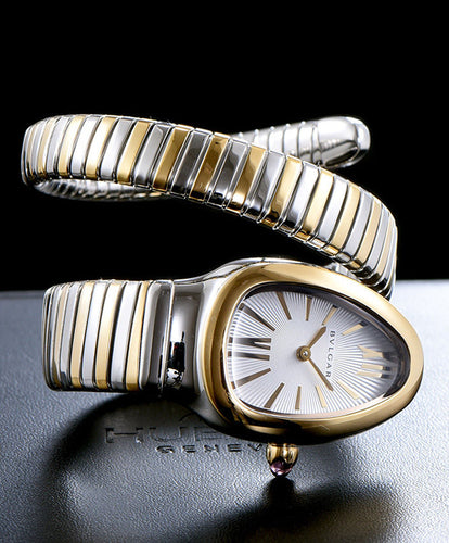 Bvlgari Serpenti 18ct Pink-Gold And Stainless Steel Watch White