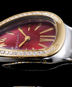 Bvlgari 18- Carat Gold And Steel Watch Red