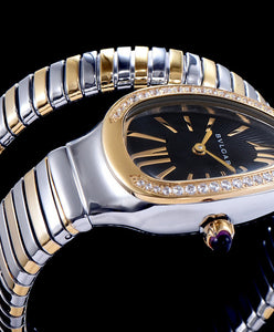 Bvlgari 18- Carat Gold And Steel Watch Black