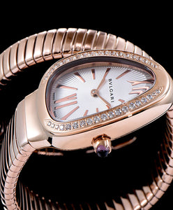 Bvlgari 18ct Rose-Gold And Diamond Watch White
