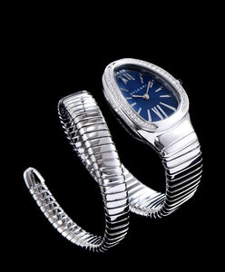 Bulgari Sliver Tone Stainless Steel And Diamond Watch Blue