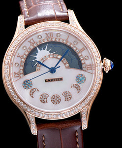 Cartier Stainless Steel Automatic Watch With Diamond Brown