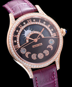 Cartier Stainless Steel Automatic Watch With Diamond Purple