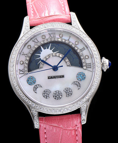 Cartier Stainless Steel Automatic Watch With Diamond Peachblow