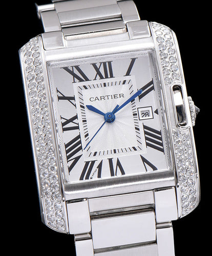 Cartier stainless steel Automatic diamond Watch White
