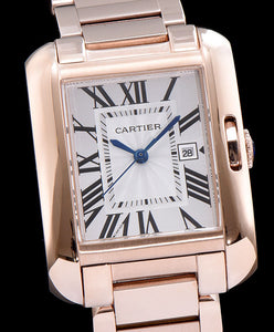 Cartier Tank Anglaise Silvered Flinque Dial Men s Watch White - hn4us