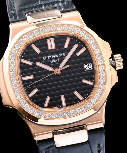 Patek Philippe gold full diamond watch for men Black