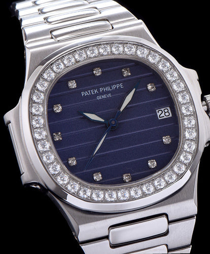 Patek Philippe stainless steel bracelet diamond watch Blue