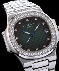 Patek Philippe stainless steel bracelet diamond watch Green
