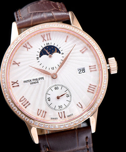 Patek Philippe white dail Stainless Steel Watch Brown