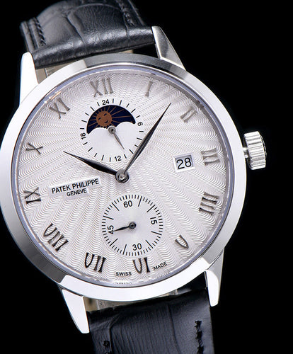 Patek Philippe white dail Stainless Steel Watch Black