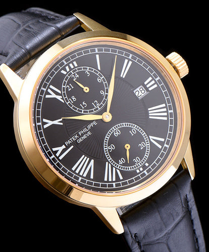 Patek Philippe white dail leather strap watch Black