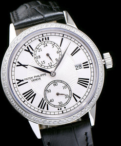 Patek Philippe white dail leather strap watch White