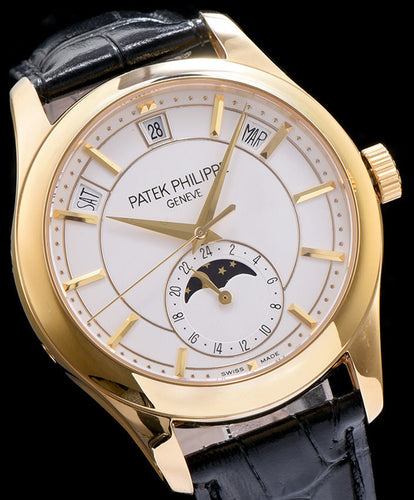 Patek Philippe Gold Black Leather Mens Watch White