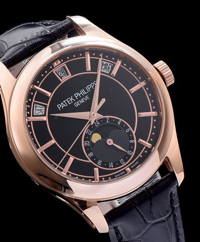 Patek Philippe Gold Black Leather Mens Watch Black