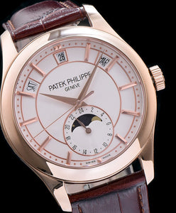Patek Philippe Gold Brown Leather Mens Watch White